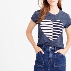 J Crew Split Heart Navy Heather Blue T-Shirt M